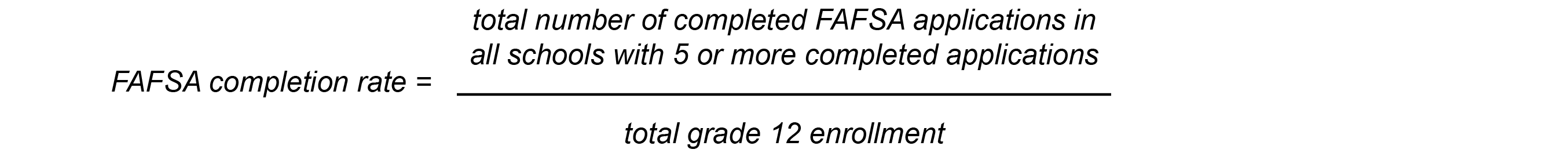 FAFSA completion rate = Total number of completed FAFSA applications in all schools with 5 or more completed applications / total grade 12 enrollment