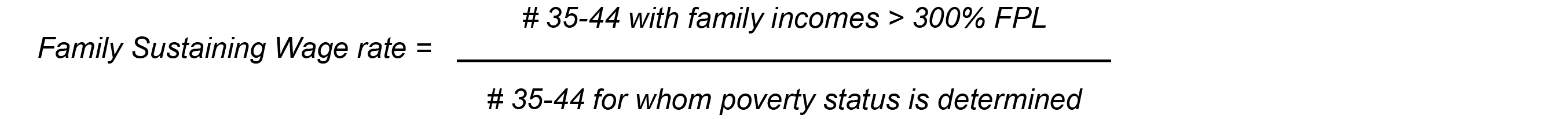 Family Sustaining Wage Rate = # 35-44 with family incomes > 300% FPL / # 35 -44 for whom poverty status is determined